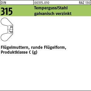 Flügelmuttern DIN 315 GT/Stahl M 4 galv. verzinkt gal Zn