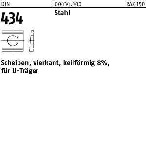 U-Scheiben DIN 434 Stahl / ÜH 9 Neigung 8 %