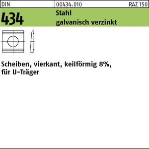 U-Scheiben DIN 434 Stahl / ÜH 9 gal Zn Neigung 8 % gal Zn