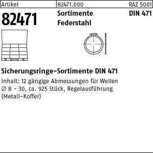 Sorti. Sicherungsringe ART 82471 DIN 471 Sortiment Stahl Sicherungsringe
