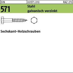 Sechskant-Holzschr. DIN 571 Stahl 5 x 20 galv. verzinkt gal Zn