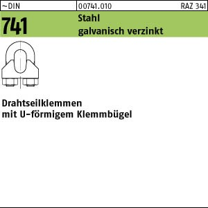 Drahtseilklemmen DIN 741 Stahl 3 mm / M 4 1/8 ähnl. DIN 741, gal Zn gal Zn 100 Stk.