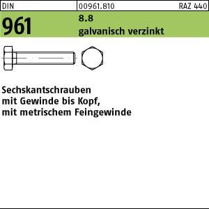 Sechskantschrauben DIN 961 8.8 M 8 x 1 x 20 galv. verzinkt gal Zn