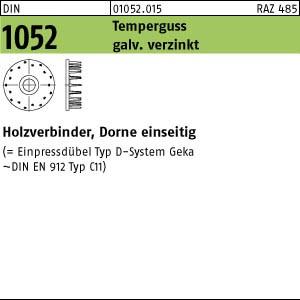 Holzverbinder DIN 1052 Holzverbinder Temperg Typ D, gal Zn, eins., 50 ÜH gal Zn