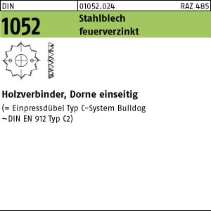 Holzverbinder DIN 1052 Holzverb. Blechdorne Typ C, tZn, eins., 48 f.M 12 ÜH tZn