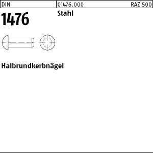 Halbrundkerbnägel DIN 1476 Stahl 2 x 3