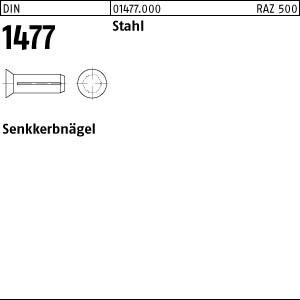 Senkkerbnägel DIN 1477 Stahl 2 x 6