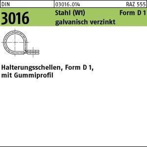 Schellen DIN 3016 St. D1 5 x 12 -W1 verzinkt, m. Gummiprofil W1 Zn