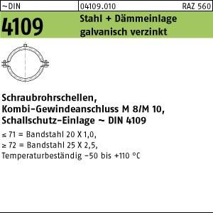 Schraubrohrschellen DIN 4109 Zn 20 - 23 / M 8 + M 10 Rohrschelle m. Schalldämpfung gal Zn