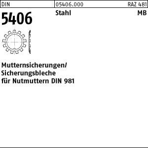 Sicherungsbleche DIN 5406 Stahl MB 0 für DIN 981 M 10 x 0,75 25 Stk.