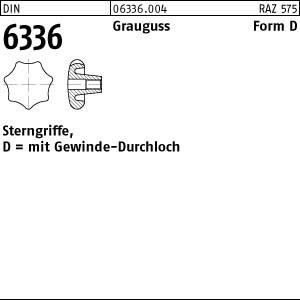 Sterngriffe DIN 6336 Grauguß D 32 M 6 m. Gewinde-Durchloch