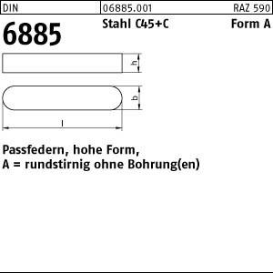 Passfedern DIN 6885 C45K A 2 x 2 x 8