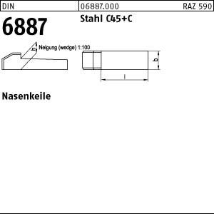 Nasenkeile DIN 6887 C45K 6 x 6 x 32