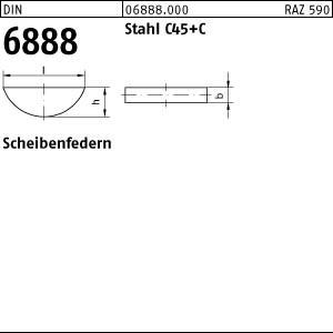 Scheibenfedern DIN 6888 C45K 2 x 2,6