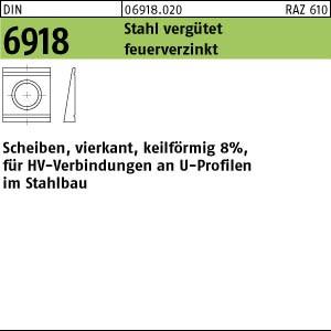 Scheiben DIN 6918 C 45 / ÜH 13 feuerverzinkt, Neigung 8 % tZn