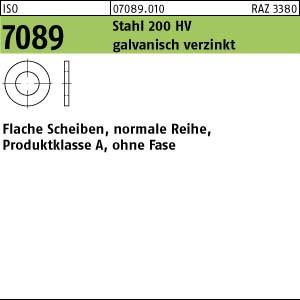 Scheiben ISO 7089 Stahl 2 ( 2,2 x 5 x 0,3) 200 HV, galv. verzinkt gal Zn