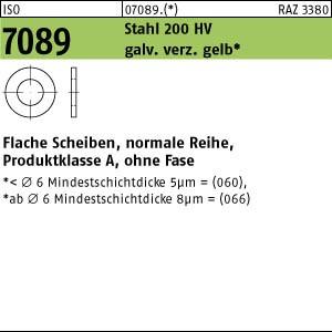 Scheiben ISO 7089 Stahl 6 ( 6,4 x 12 x 1,6) 200 HV, gal Zn gelb chrom. A3C gal ZnC8