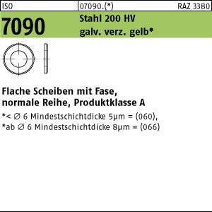 Scheiben ISO 7090 Stahl 6 ( 6,4 x 12 x 1,6) 200 HV, gal Zn gelb chrom. A3C gal ZnC8