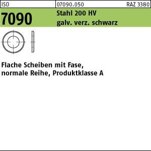 Scheiben ISO 7090 Stahl 4 ( 4,3 x 9 x 1 ) 200 HV, gal Zn schwarz chrom. gal ZnS