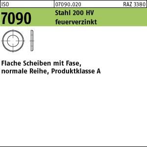 Scheiben ISO 7090 Stahl 6 ( 6,4 x 12 x 1,6) 200 HV, feuerverzinkt tZn