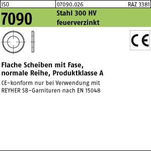 Scheiben ISO 7090 St. CE 8 ( 8,4 x 16 x 1,6) 300 HV, feuerverzinkt tZn
