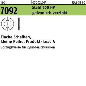 Scheiben ISO 7092 St. 2 ( 2,2 x 4,5 x 0,3) 200 HV, galv. verzinkt gal Zn