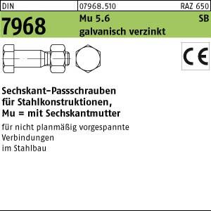 Sechskant-Paßschrauben DIN 7968 Mu 5.6 / CE M 12 x 40 galv. verzinkt gal Zn