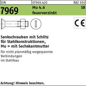 Senkschr. mit Schlitz DIN 7969 Mu 4.6 U / CE M 12 x 35 feuerverzinkt tZn