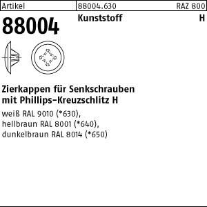 Zierkappen m.KS-Profil ART 88004 Kappen 2 x 12/3,5-5 für Kreuzschlitz H, weiß Kunstst
