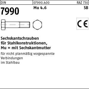 Sechskantschrauben DIN 7990 Mu 4.6 / CE M 12 x 30