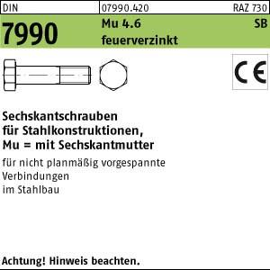 Sechskantschrauben DIN 7990 Mu 4.6 / CE U M 12 x 30 feuerverzinkt tZn