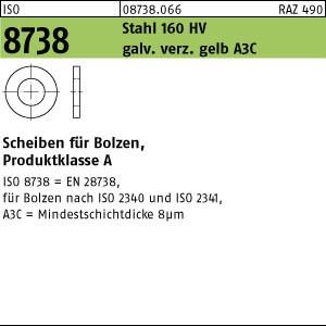 Scheiben ISO 8738 Stahl 8 galv. verzinkt gelb chrom. A3C