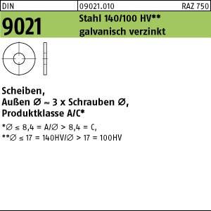 Scheiben DIN 9021 Stahl 3,2 galv. verzinkt gal Zn