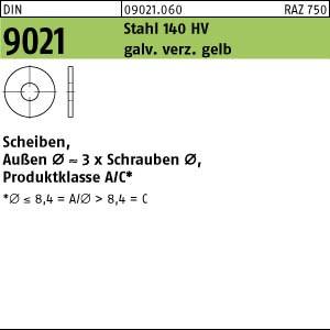 Scheiben DIN 9021 Stahl 140 HV 3,2 galv. verzinkt gelb chrom. gal ZnC