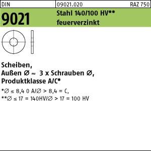 Scheiben DIN 9021 Stahl 6,4 feuerverzinkt tZn