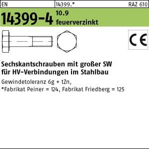 Sechskantschrauben HV EN 14399 -4 10.9 M 12 x 30 Sechskantschrauben, tZn, K1, -P- tZn