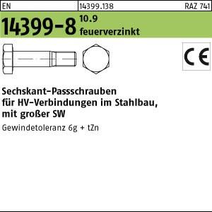Sechskant-Paßschrauben EN 14399 -8 10.9 M 16 x 45 tZn, K1, ohne Zubehör -P- tZn