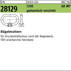 Bügelmuttern DIN 28129 C35E M 16 galv. verzinkt, ADW 7 gal Zn