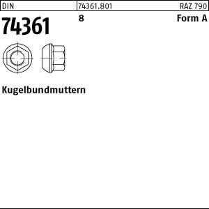 Kugelbundmuttern DIN 74361 8 AM 14 x 1,5 SW 19 Kugelbundmuttern