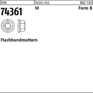 Flachbundmuttern DIN 74361 10 BM 14 x 1,5 SW 19 Flachbundmuttern
