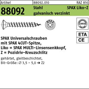 SPAX LIKO-Schraube ART 88092 SPAX St. 3,5 x 15/11 -Z WIROX, LIKO gal Zn