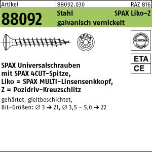 ABC-SPAX-S ART 88092 SPAX St. 3,5 x 16/12 -Z Wellenschliff, gal Ni, LIKO gal Ni