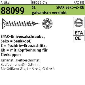 Spanplattenschrauben ART 88099 ABC-SPAX St. 4,5 x 20/10 -Z WIROX, SEKO mit Innenloch gal Zn