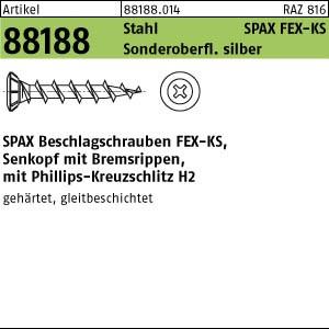 ABC SPAX FEX-KS Schr. ART 88188 SPAX FEX-KS St. 4 x 25 -H Sonderoberfläche silber gal Zn