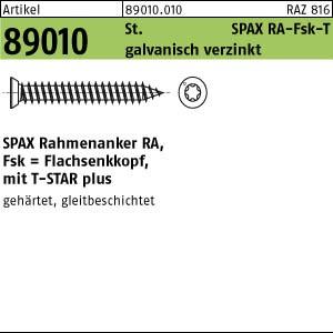 SPAX-RA Rahmenanker ART 89010 SPAX-RA St. 7,5 x 40 -T30 WIROX, Senkkopf gal Zn