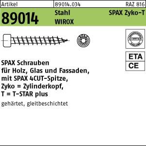 SPAX Zylinderkopf ART 89014 SPAX Zylinderkopf Stahl geh. 6 x 80 -T30 Oberfläche WIROX gal Zn