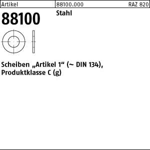 Scheiben Art1,gestanzt ART 88100 Art. 1 Stahl 3,2 x 8 x 0,5