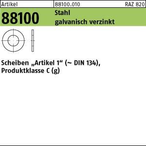 Scheiben Art1,gestanzt ART 88100 Art. 1 Stahl 3,2 x 8 x 0,5 galv. verzinkt gal Zn