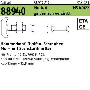 Hakenkopf-Schr. m. Mu ART 88940 Halfenschr. Typ 40/22 4.6 M 10 x 20 gal Zn gal Zn 100 Stk.