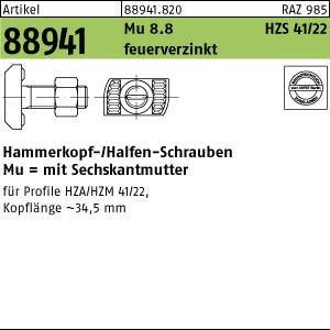 Hammerkopf-Schr. m. Mu ART 88941 Halfenschr. Typ HZS 41/22 8.8 M 12 x 35 feuerverzinkt tZn